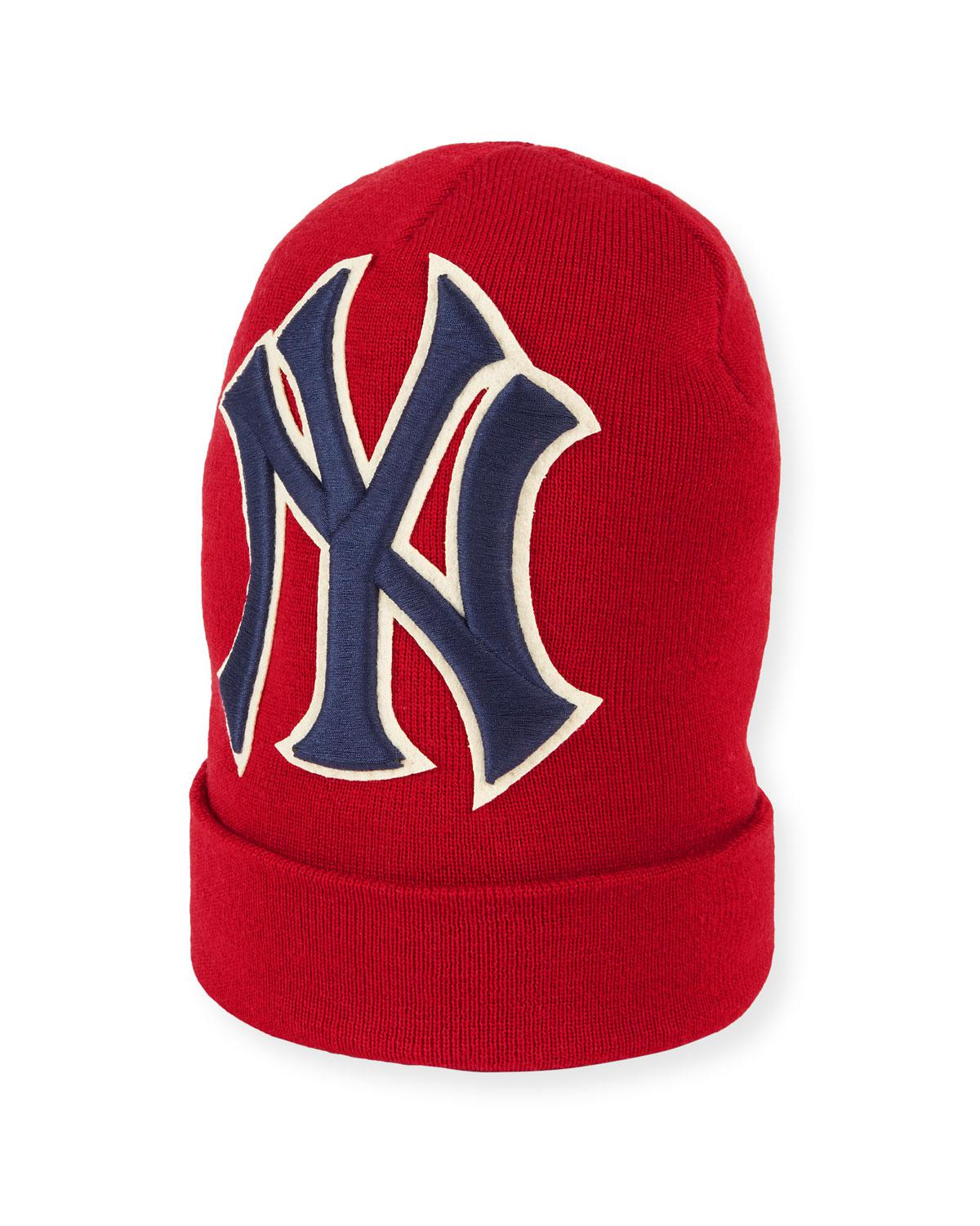 Lyst - Gucci Men s New York Yankees Mlb Patch Beanie Hat in Red for Men a1156d5fb43b