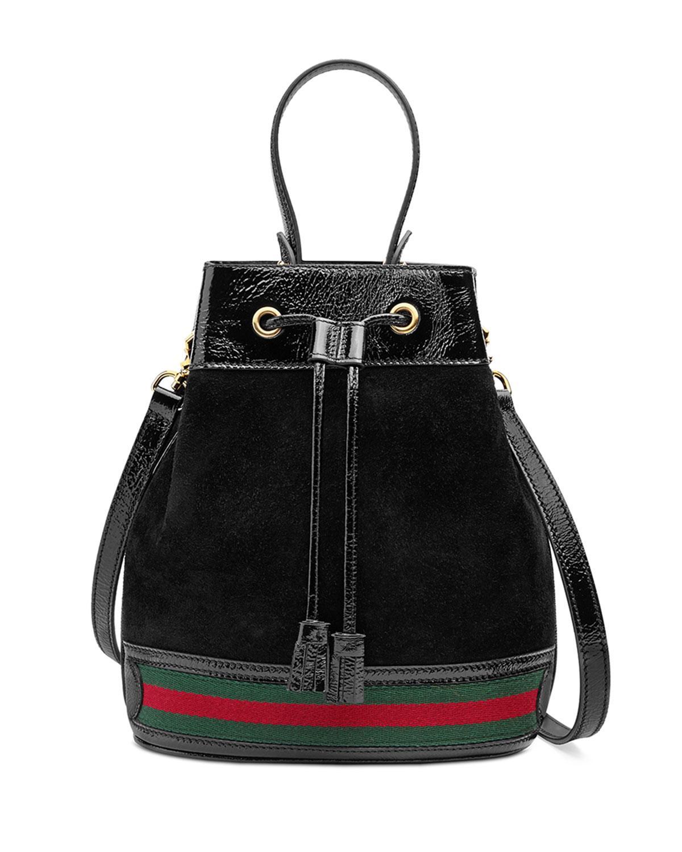 Lyst - Gucci Mini Suede Bucket Bag in Black b232ec3eea59c