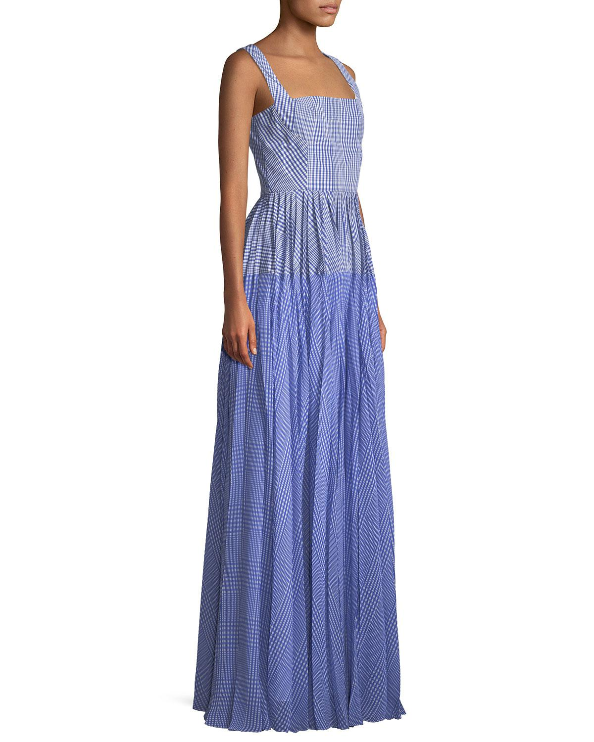 Lyst - Lela Rose Square-neck Sleeveless Plaid Gown With Pleated ...