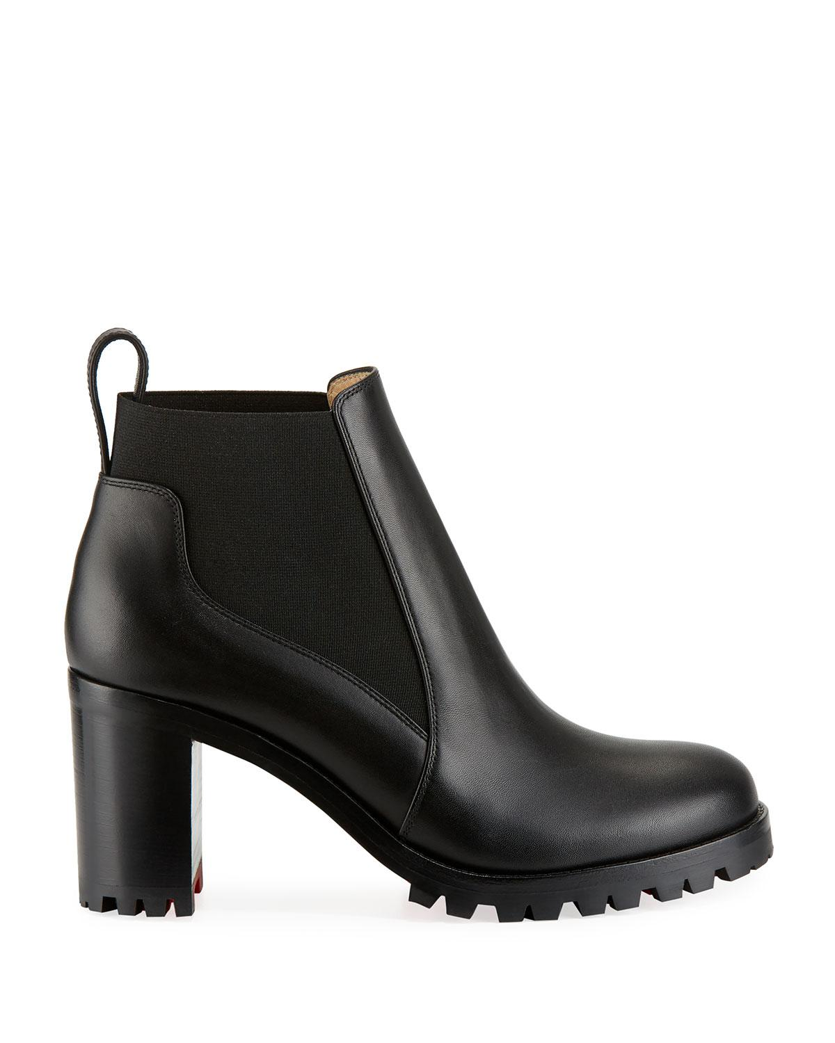 e466039088fa Christian Louboutin Marchacroche Leather Red Sole Booties in Black - Lyst
