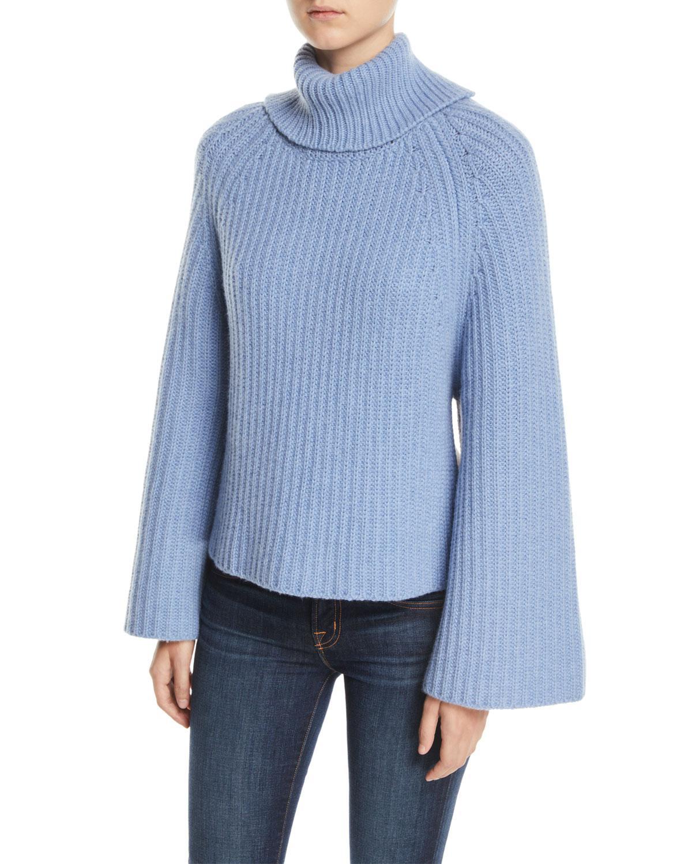 fd94865a5504d4 Rosetta Getty. Women s Blue Cropped-back Turtleneck Cashmere-wool Sweater