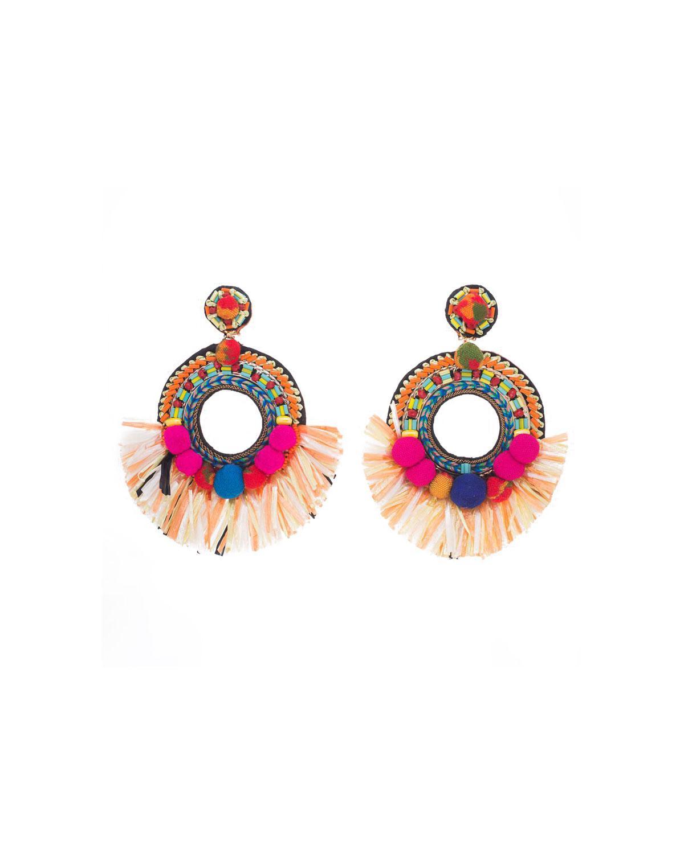 Ranjana Khan Beaded Raffia Hoop Clip-On Earrings 7ETjZ00B