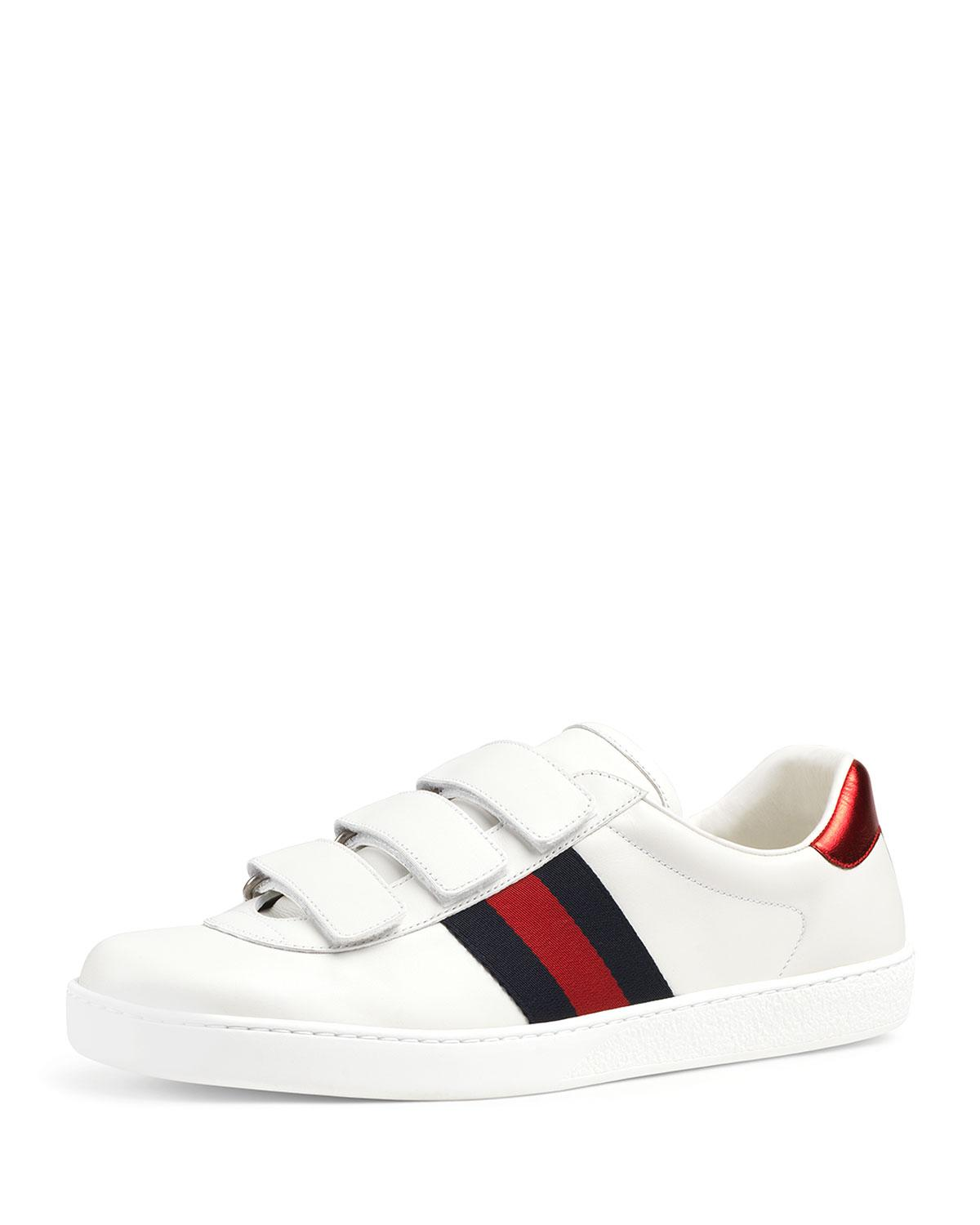 0f0c096c464 Gucci Men s Leather Grip-strap Sneakers With Web in White for Men - Lyst