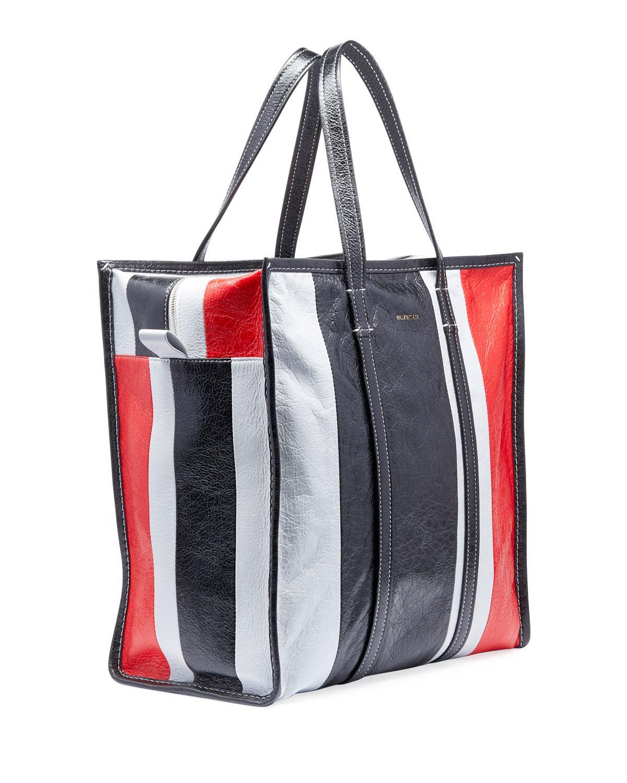 13d1e7c03 Balenciaga Men's Bazar Medium Striped Leather Shopper Tote Bag in Gray for  Men - Lyst