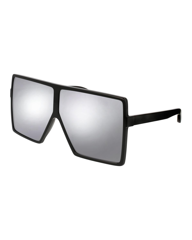 0aaf658b1a9 Lyst - Saint Laurent New Wave 183 Betty Shield Sunglasses in Black