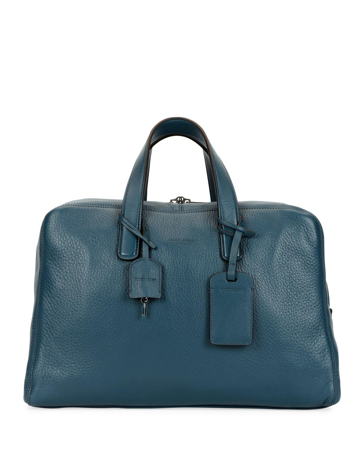 19fde8b3568c Lyst - Giorgio Armani Men s Deer Leather Carryall Duffel Bag in Blue for Men