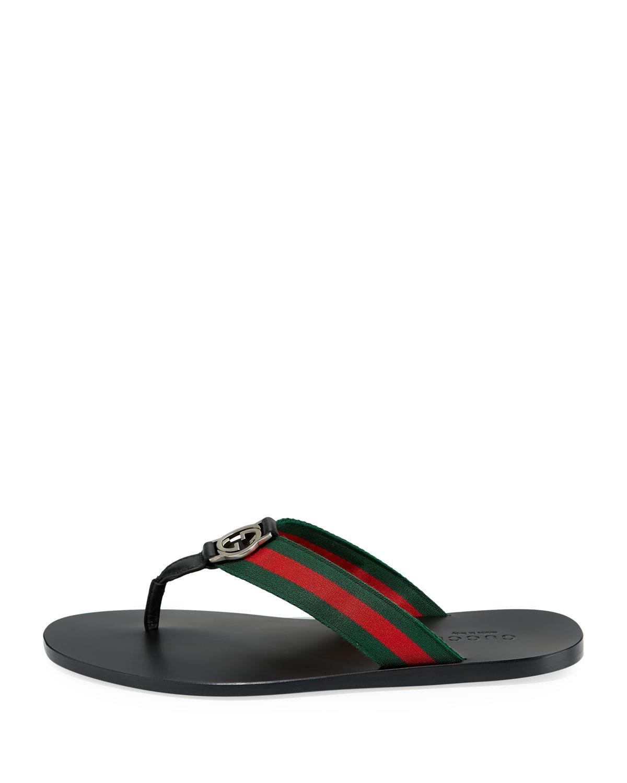 735f21078a269d Gucci - Black GG Line Signature Web Thong Sandal for Men - Lyst. View  fullscreen