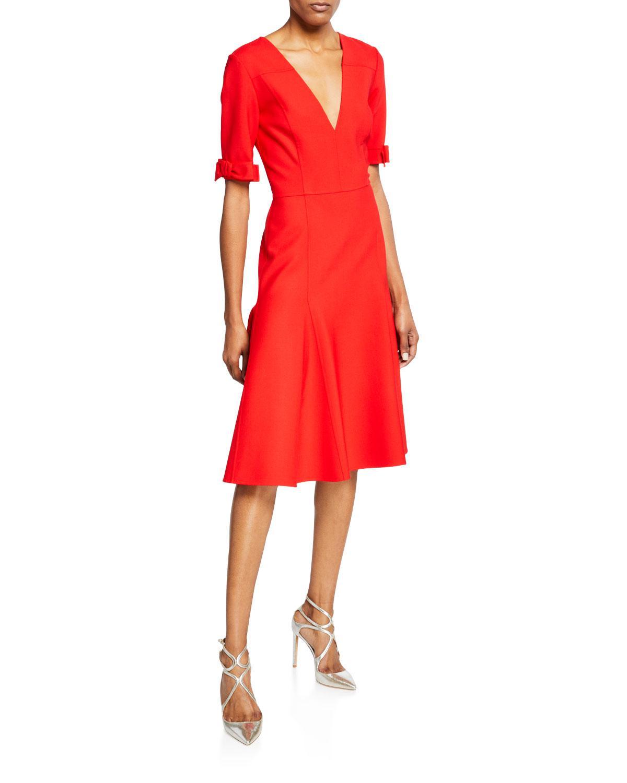 ac25832b951 Lyst - Carolina Herrera 1 2-bow Sleeve V-neck Midi Dress in Red
