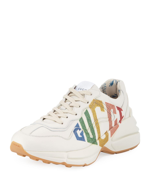 092ab06488f Lyst - Gucci Rhyton Rainbow Leather Trainer in White