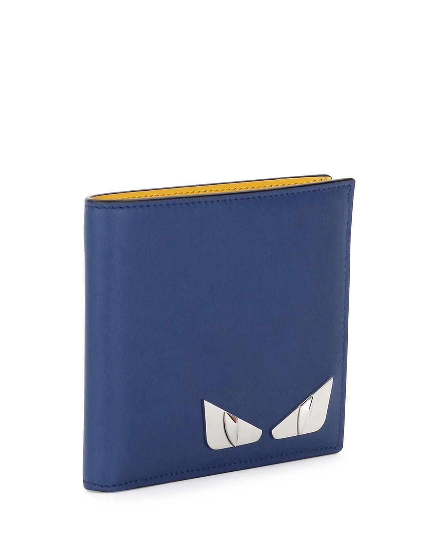 29ca3470ce Fendi Monster Eyes Leather Bi-fold Wallet in Blue for Men - Lyst