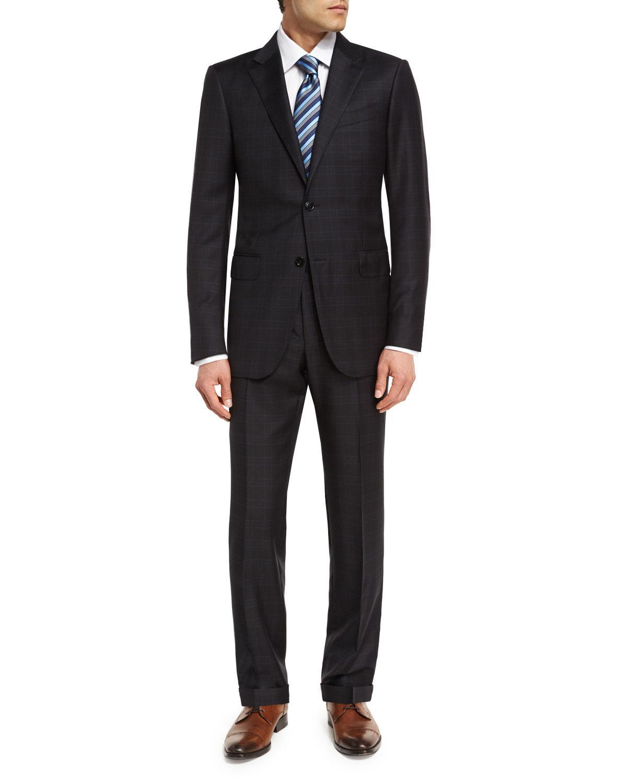 Lyst - Ermenegildo Zegna Trofeo® Wool Plaid Two-piece Suit in Black ... d2326e19b7f1