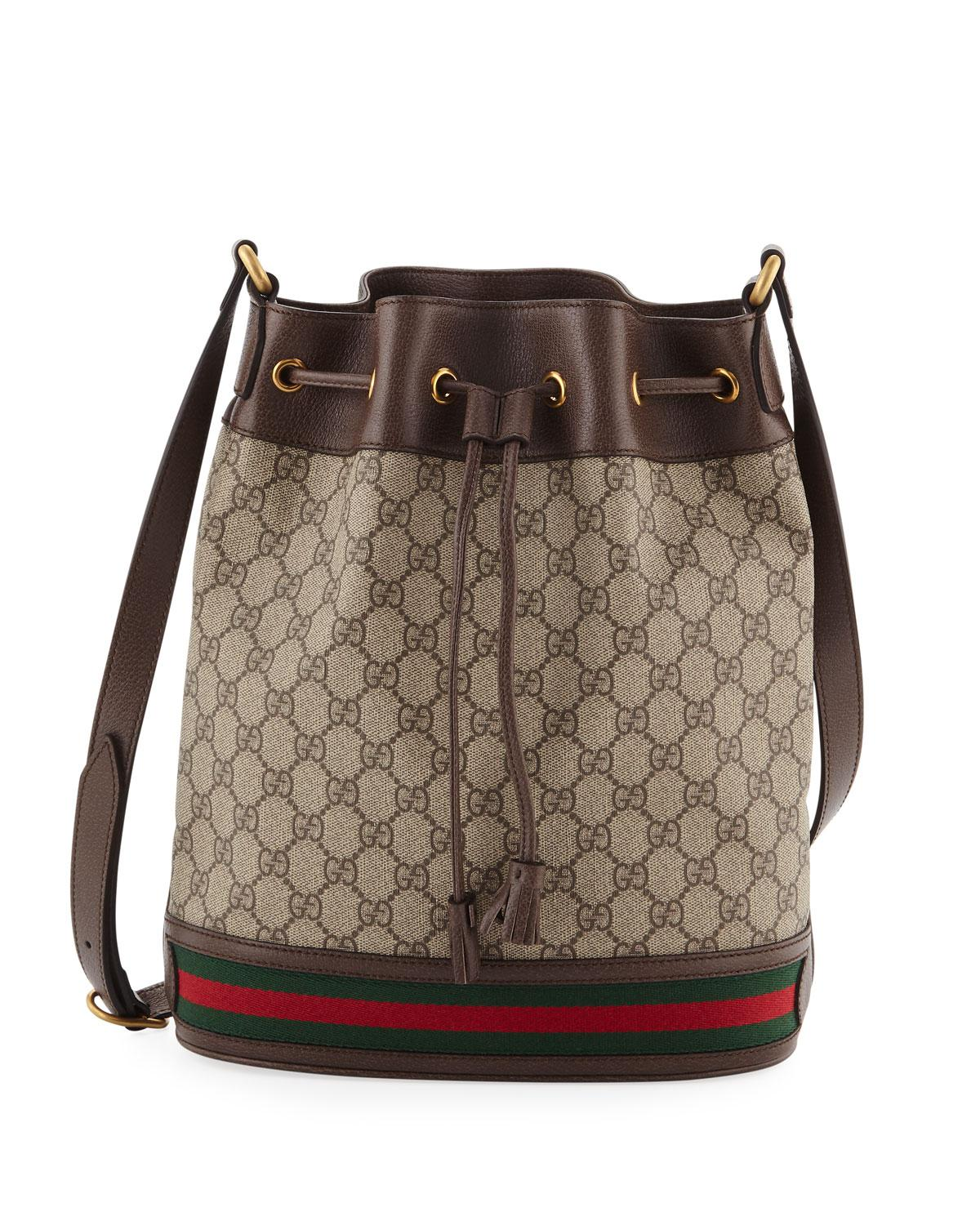 7d0fd5d0919d Gucci Ophidia GG Supreme Canvas Drawstring Bucket Bag in Natural - Lyst