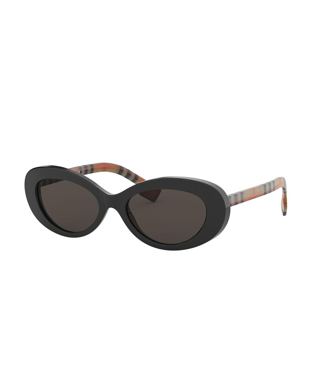 109cea2a20e Lyst - Burberry Oval Check-arms Sunglasses in Black