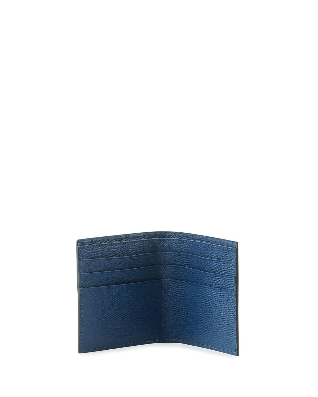 ae2e782335f5a7 ... ireland lyst prada saffiano corner logo wallet in blue for men ba237  56b2d