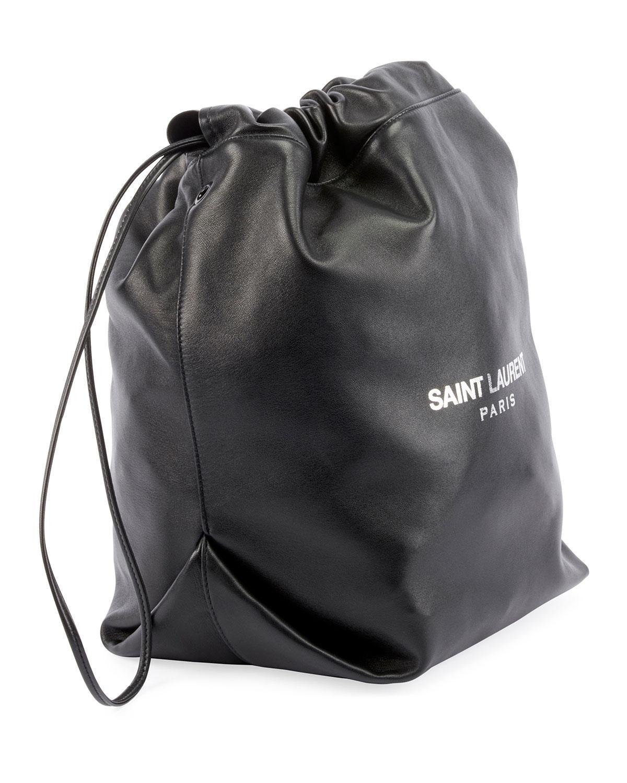 4094dc4ac19c Lyst - Saint Laurent Teddy Drawstring Bucket Bag in Black