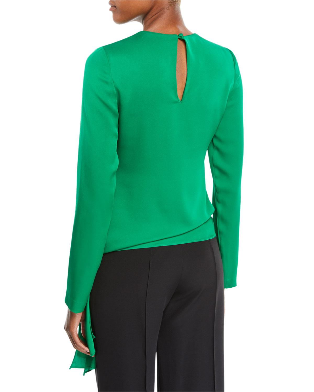 16cbd87f9c47b Lyst - MILLY Tie-hem Long-sleeve Stretch-silk Blouse in Green