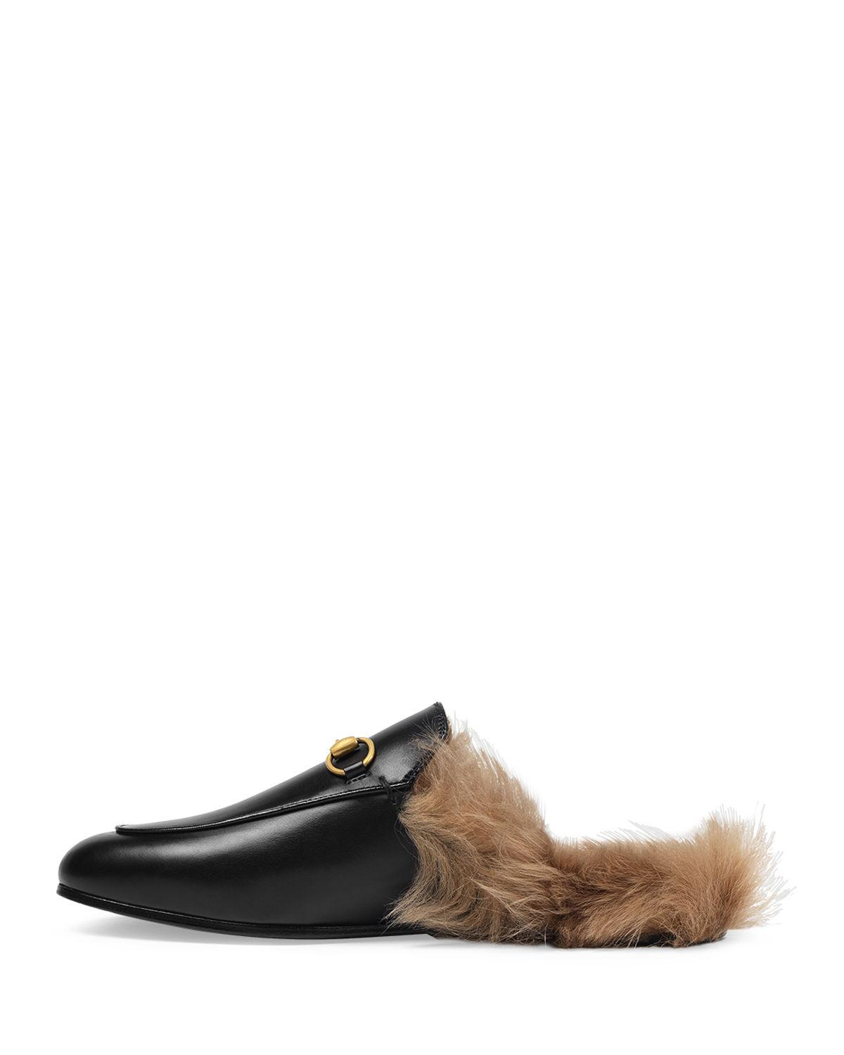 def20105dfd Lyst - Gucci Princetown Fur-lined Leather Mule in Black