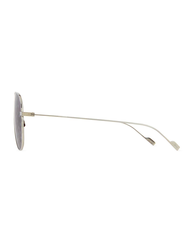 66e7ffaa2 Lyst - Saint Laurent Metal Aviator Star-lens Sunglasses in Metallic