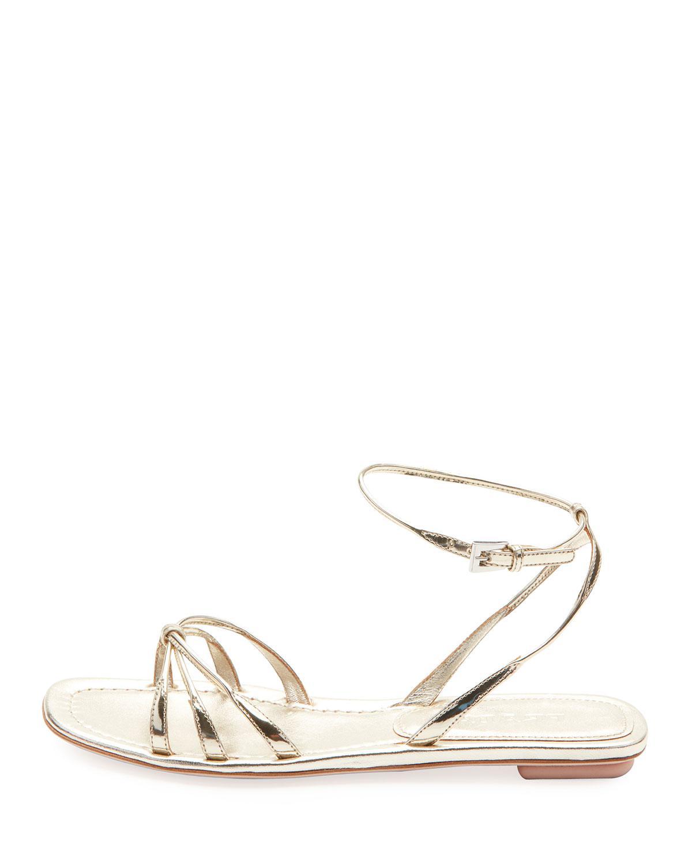 fece8c54212 Lyst - Prada Flat Metallic Leather Strappy Sandals in Metallic