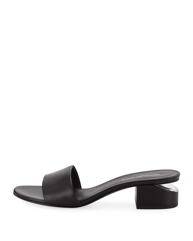 3654c0e5c6c Lyst - Alexander Wang Lou 40mm Calf Slide Sandals in Black
