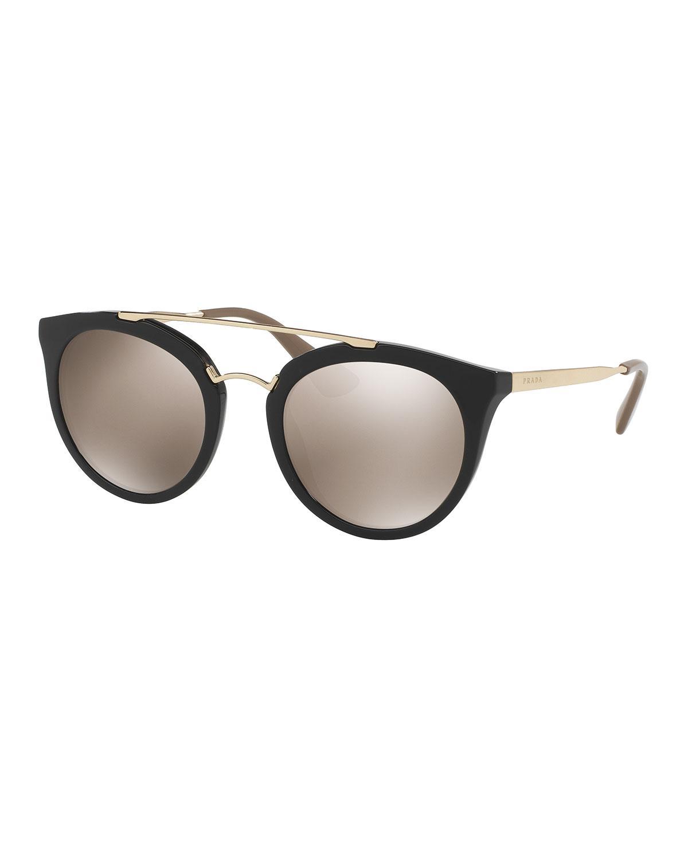 f9c0585de44b Lyst - Prada Mirrored Cat-eye Double-bridge Sunglasses in Black