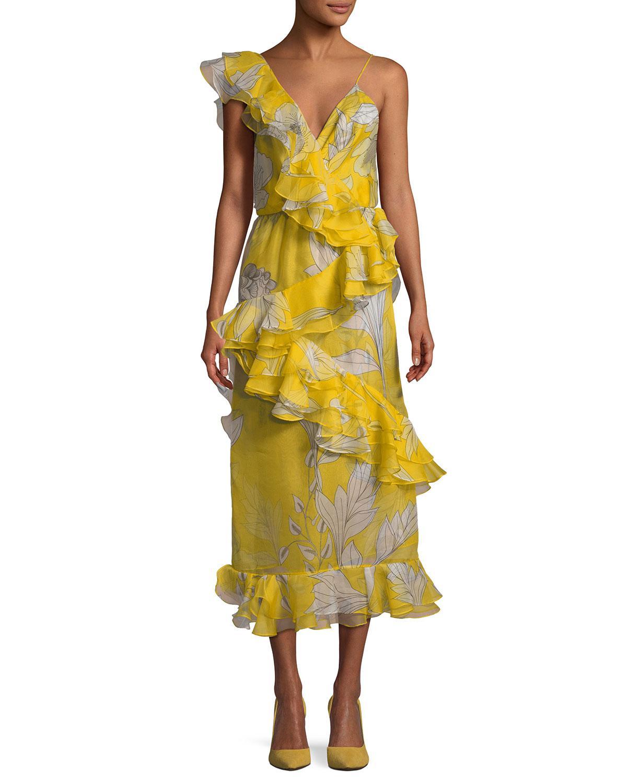 0ede125194b Johanna Ortiz Sunlight Ruffled Organza Midi Dress in Yellow - Lyst