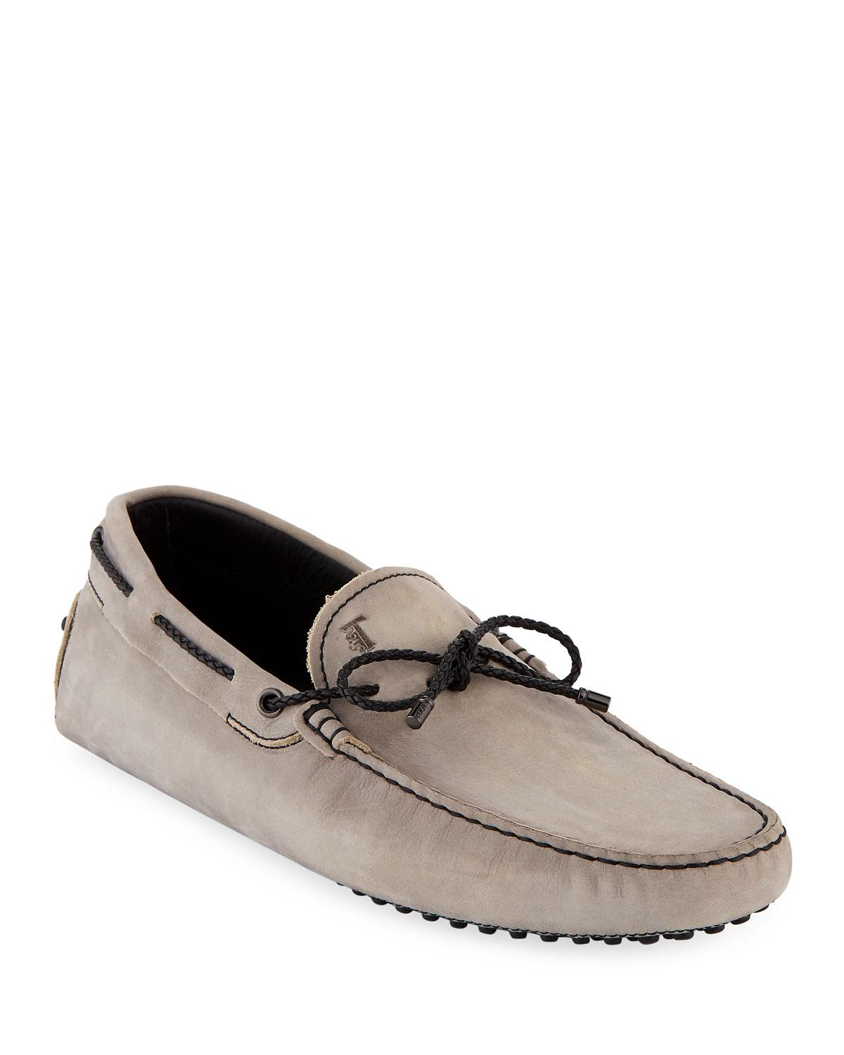 aed30c4297c Lyst - Tod s Men s Gommini Nubuck Drivers With Braided Tie in Gray ...