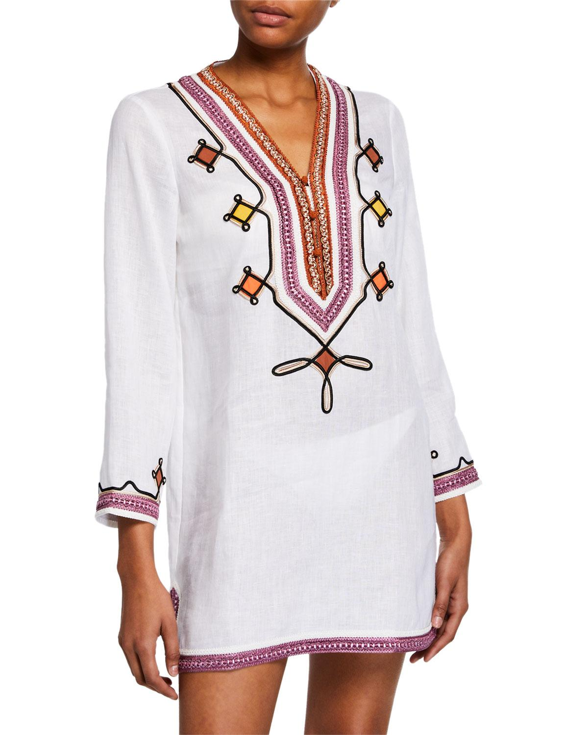 b228a96eb6d Lyst - Tory Burch Embellished V-neck Linen Tunic in White