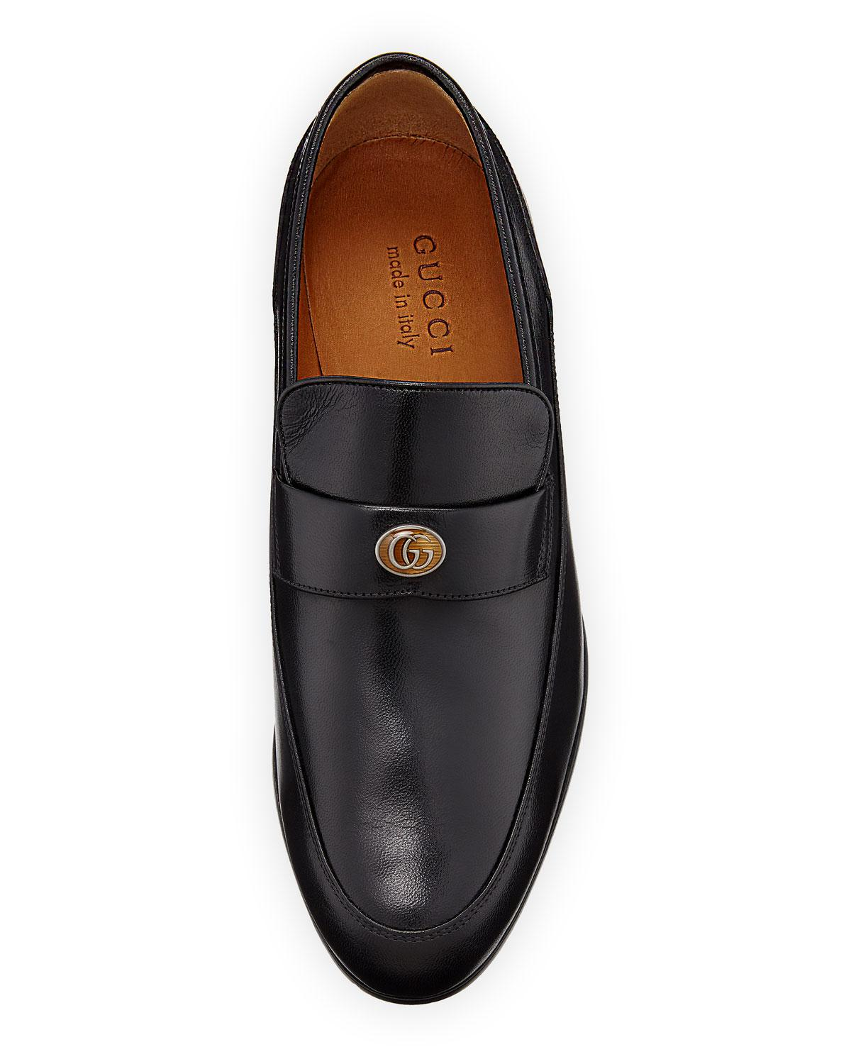 c2a01bf24a7 Lyst - Gucci Men s High Loomis Leather Loafers in Black for Men