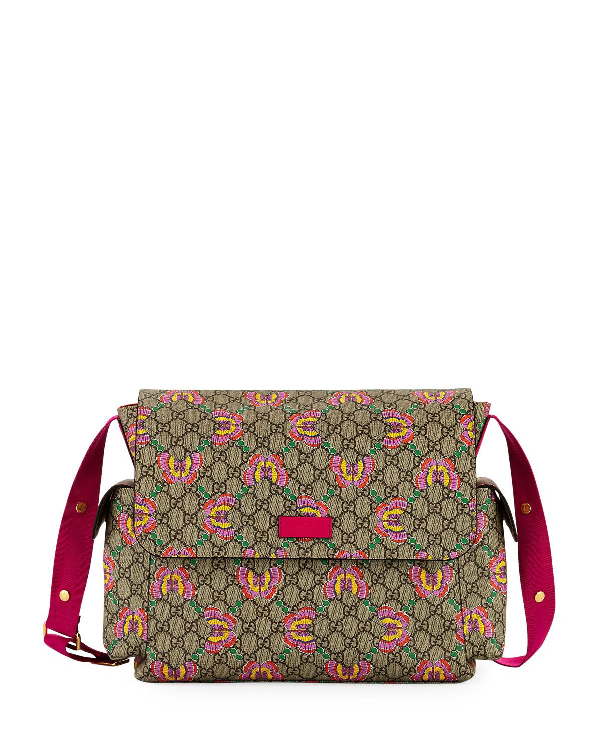 2b0fc1996e8fb1 Gucci Gg Supreme Canvas Butterfly Diaper Bag W/ Changing Pad in ...