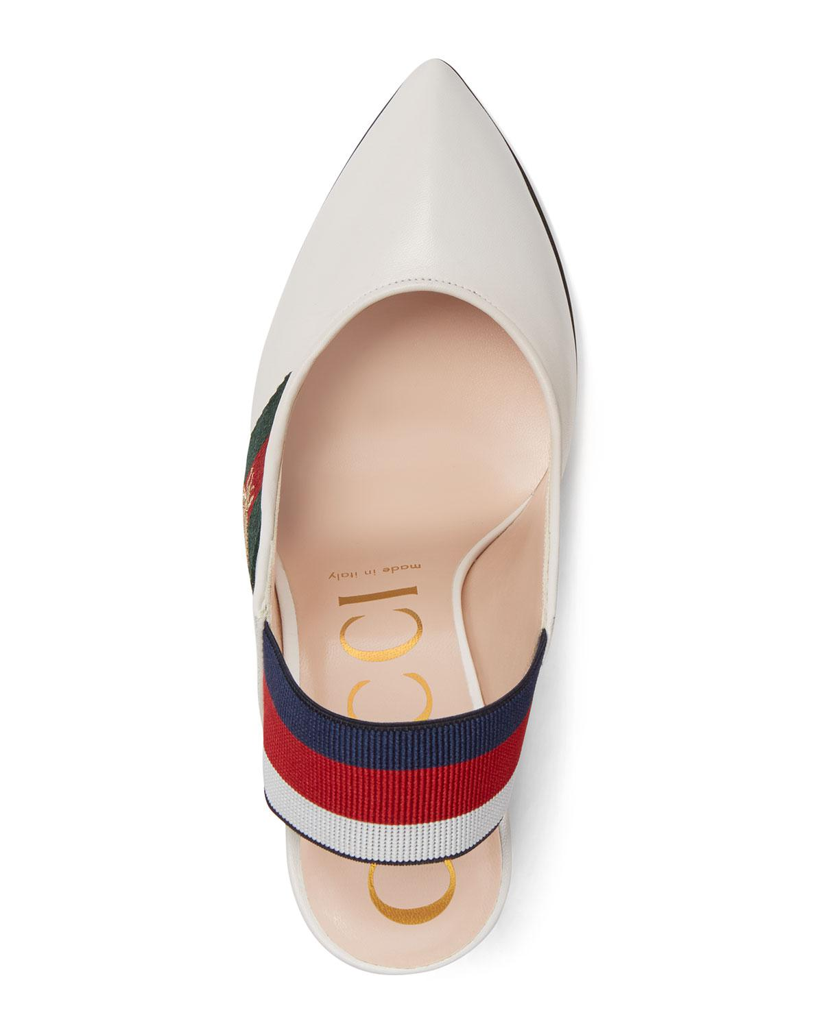 821bf38b1 Gucci Leather Web Slingback Pump in White - Save 55% - Lyst