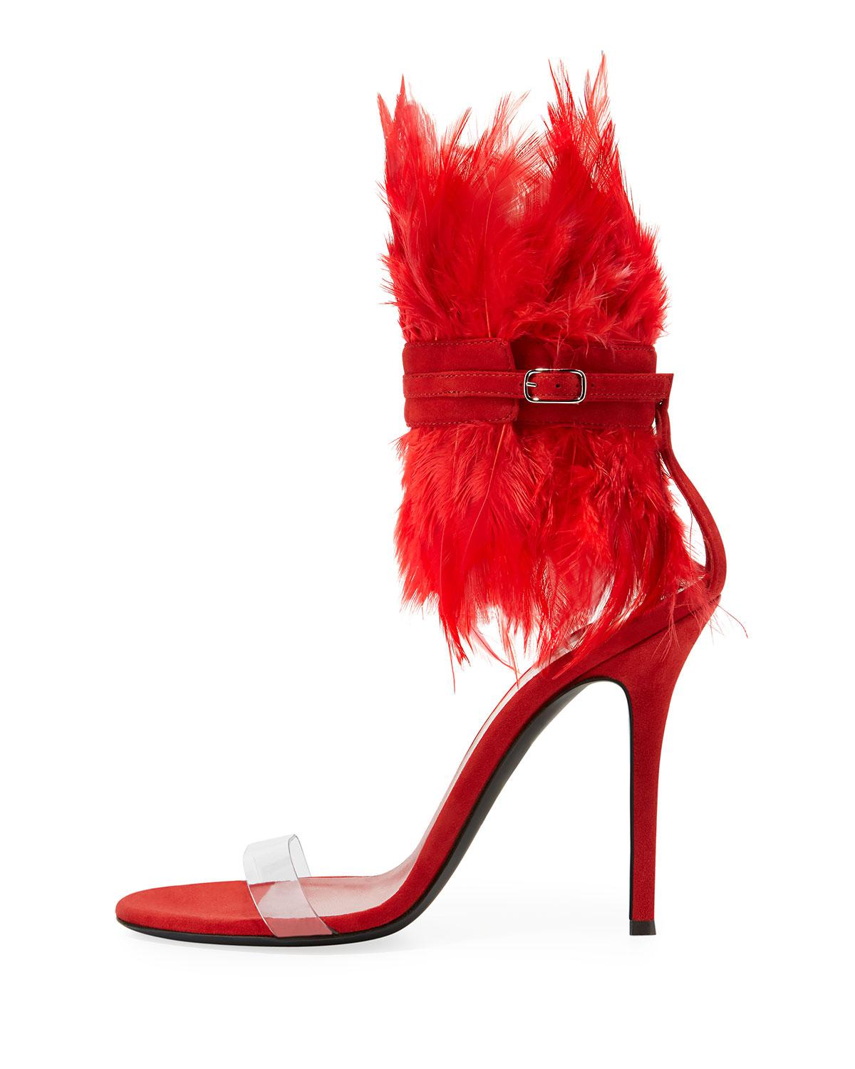 74b79a51931 Lyst - Giuseppe Zanotti Feather High Red Sole Sandals in Red