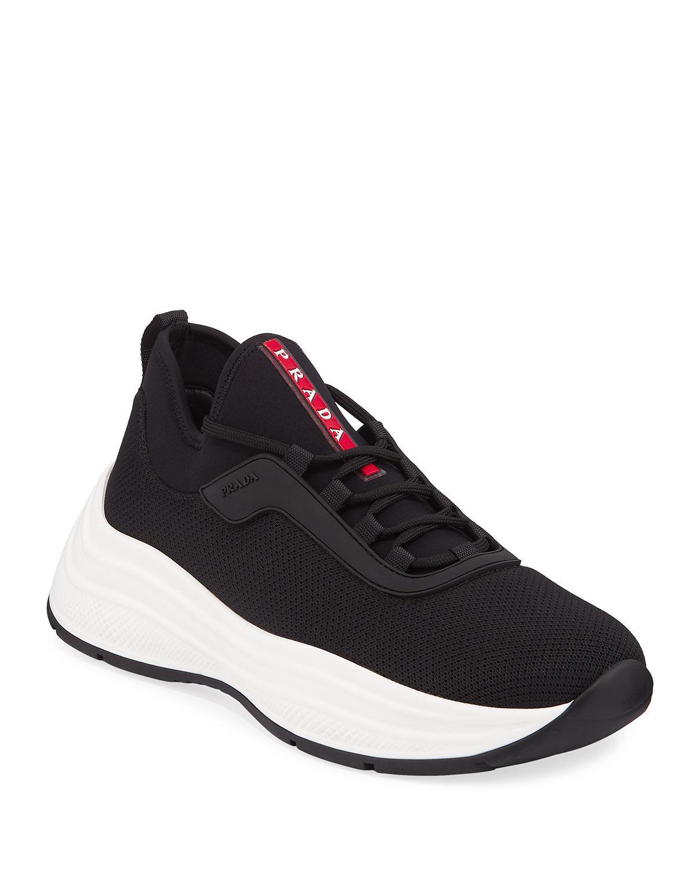 12779f3b Lyst - Prada Men's Neoprene Chunky-sole Lace-up Sneakers in Black ...