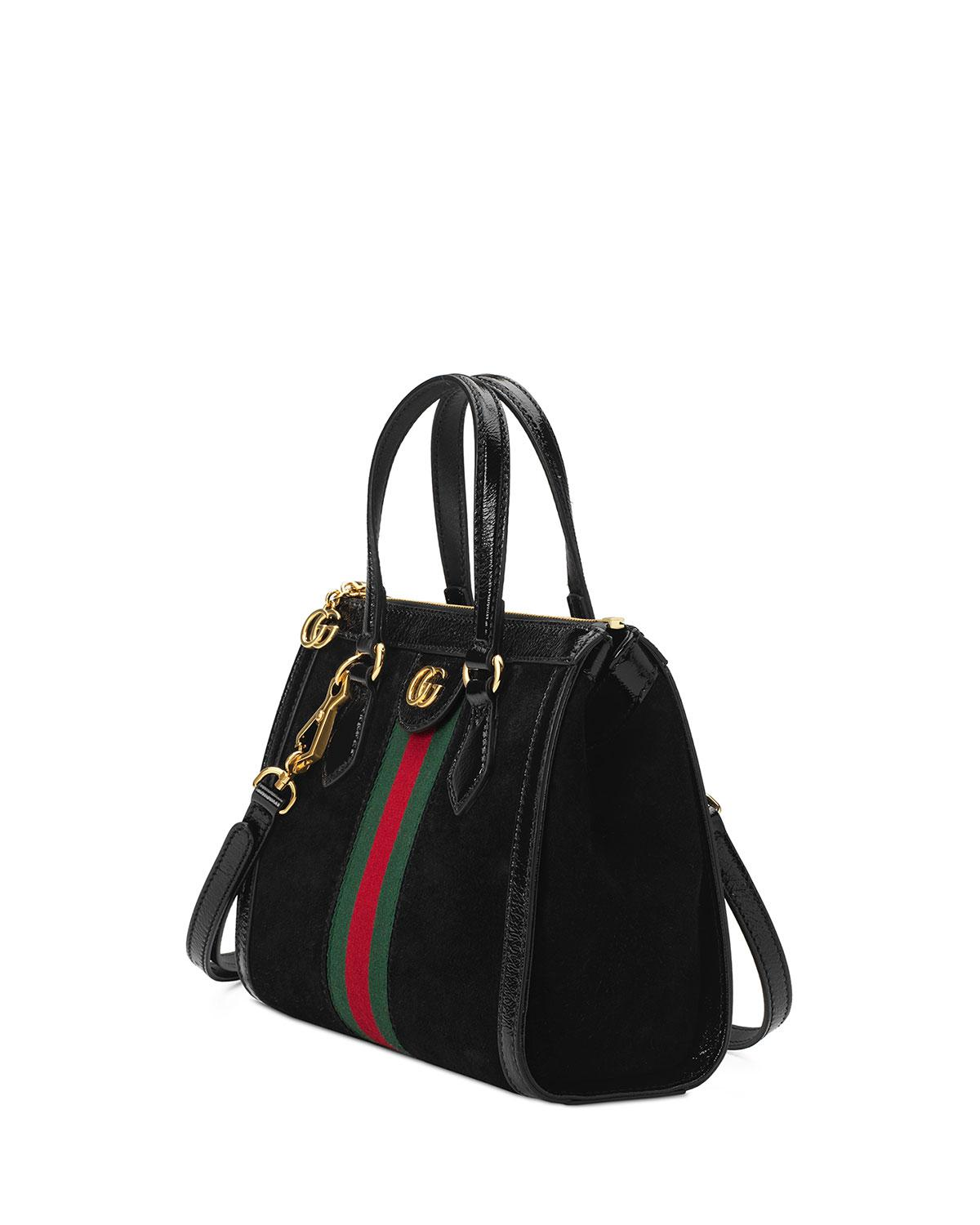 11cf3d760 Gucci Small Ophidia House Web Suede Satchel in Black - Lyst