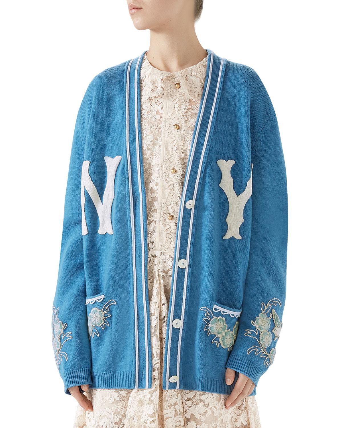 682630f15 Gucci Ny Yankees Mlb V-neck Wool Cardigan With Flower Appliques in ...