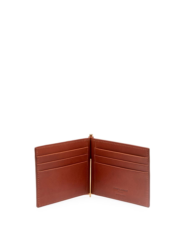 d4e7e0736f4dc Lyst - Saint Laurent Men s Ysl Portadollari Wallet in Brown for Men