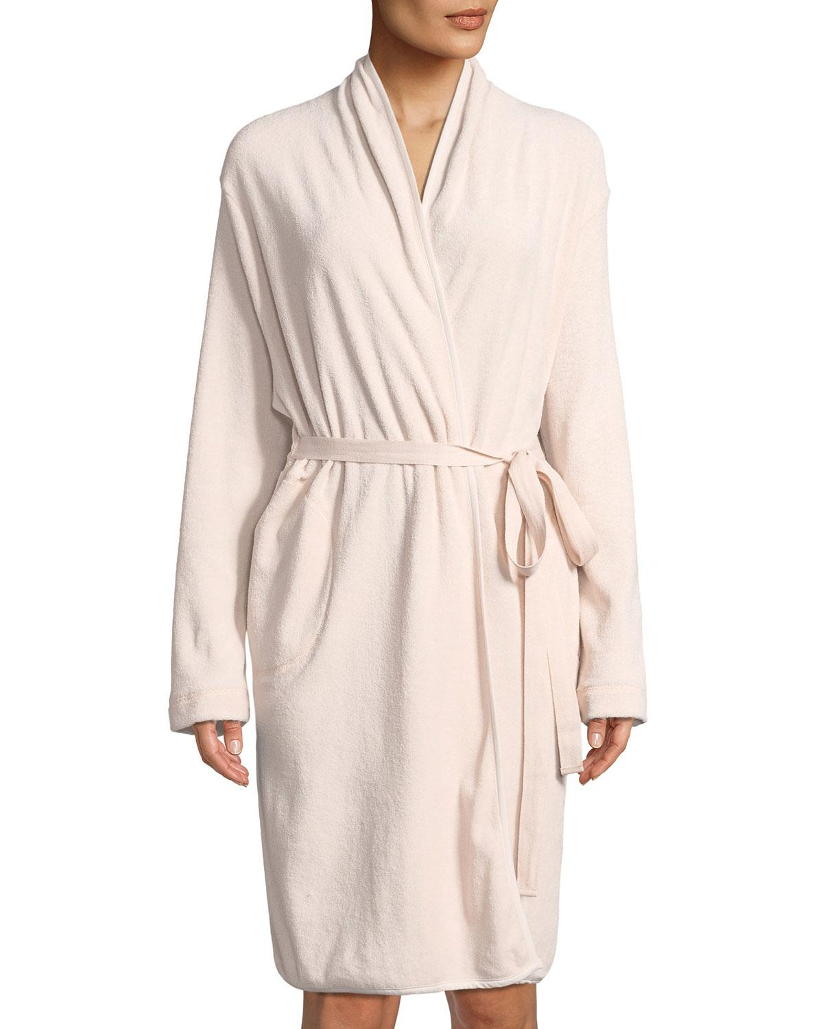 6ca778b965 Lyst - Skin French Terry Short Robe in Pink