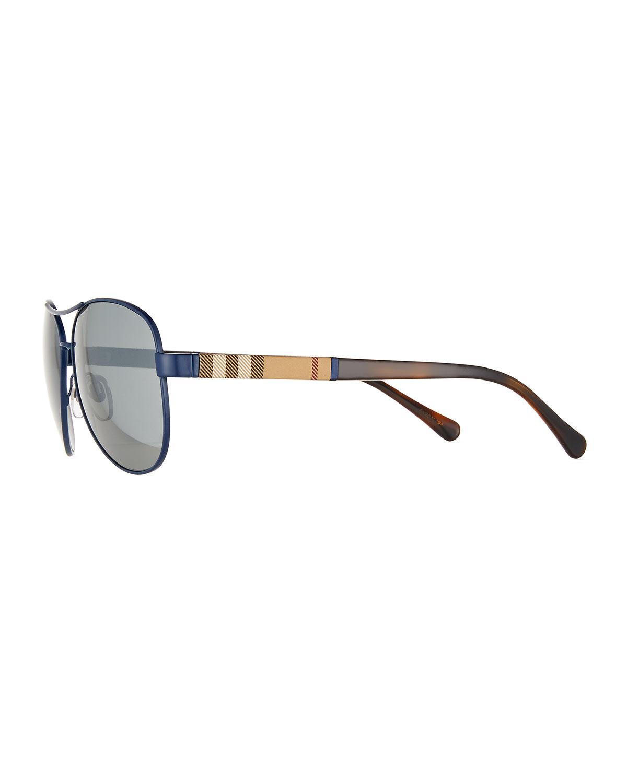 55b43d37cfbc Lyst - Burberry Mirrored Steel Aviator Sunglasses in Metallic