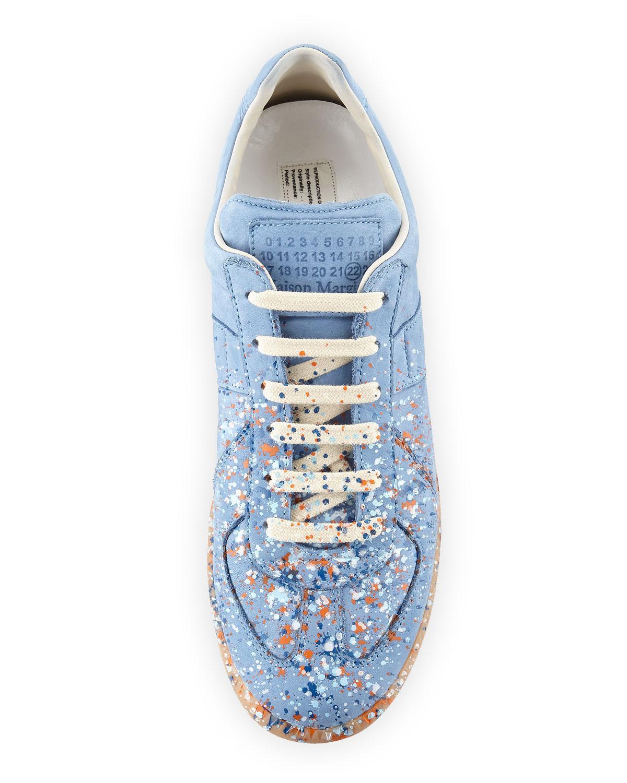 97be3ba0e0b5a Lyst - Maison Margiela Men s Replica Paint-splatter Suede Low-top Sneakers  in Blue