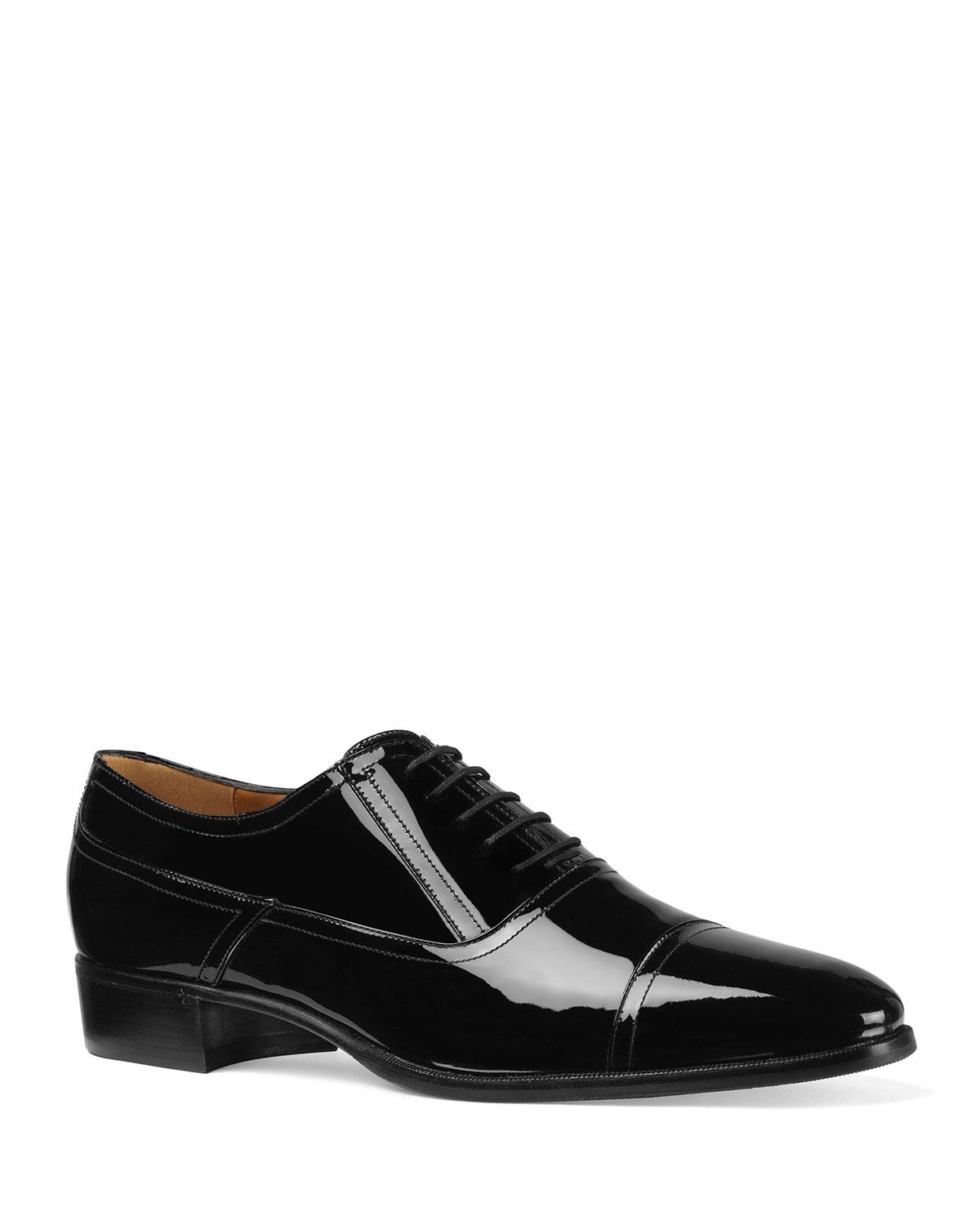 fe5327bc457dc Lyst - Gucci Men s Patent Leather Lace-up Shoes in Black for Men