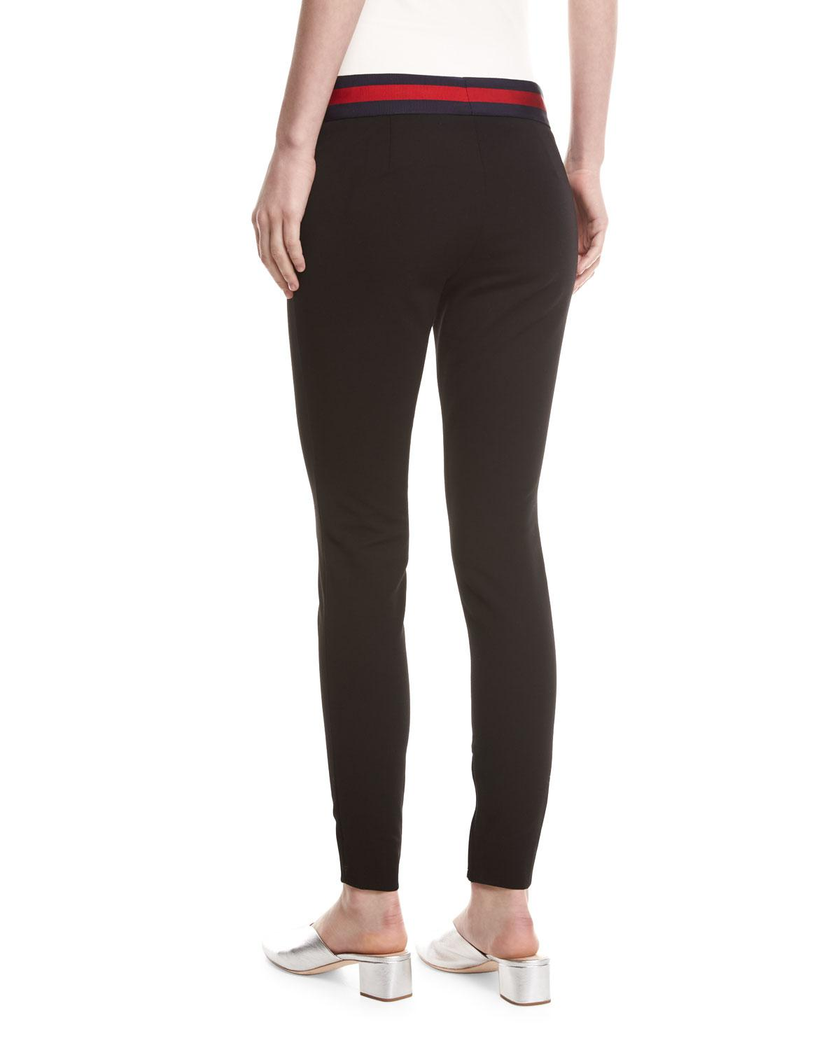 Lyst - Gucci Compact Knit Leggings With Sylvie Web Belt in Black