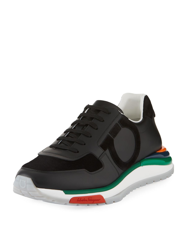 4abcb466037 Ferragamo Men s Brooklyn Sneakers W  Rainbow Sole in Black for Men ...