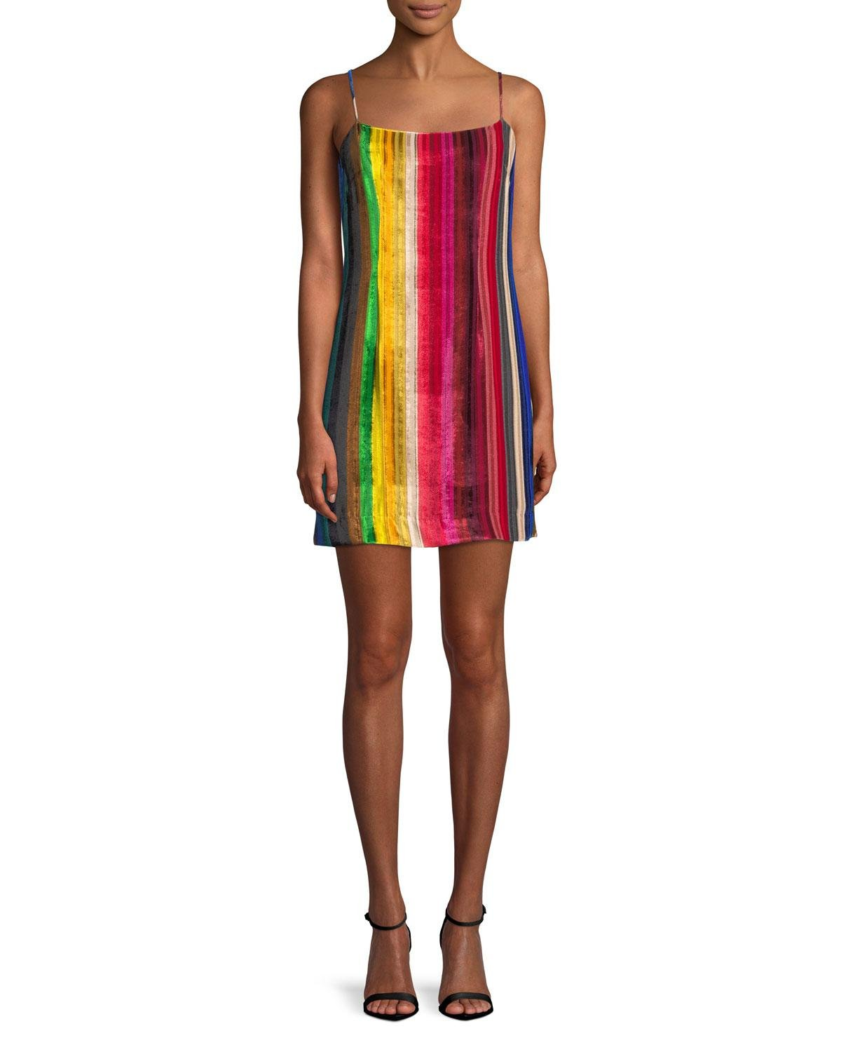 1a40203d91c Lyst - MILLY Rainbow Velvet Mini Slip Dress in Red - Save 56%