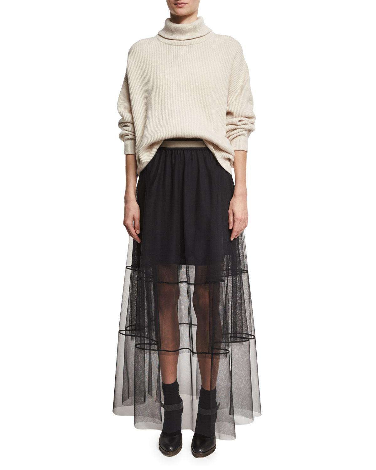 ce20339599 Brunello Cucinelli Sheer Tiered Tulle Maxi Skirt With Contrast Waist ...