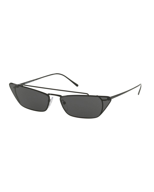 6f7fd17fd409 Prada Slim Cat-eye Metal Sunglasses in Black - Lyst