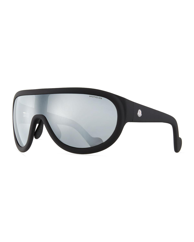 86e6b77575 Lyst - Moncler Mirrored Shield Sunglasses in Black