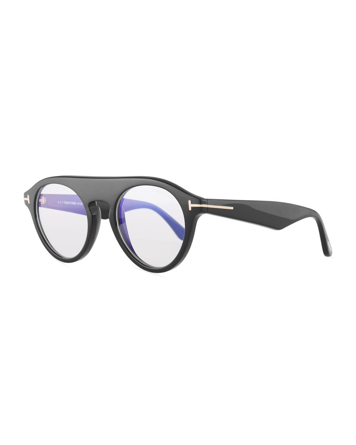 a49c93125b Tom Ford 0633 Blue Block Christopher Round Glasses in Black for Men ...