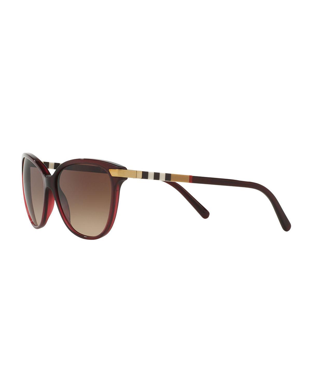 b5869571187 Lyst - Burberry Check-trim Cat-eye Sunglasses in Red