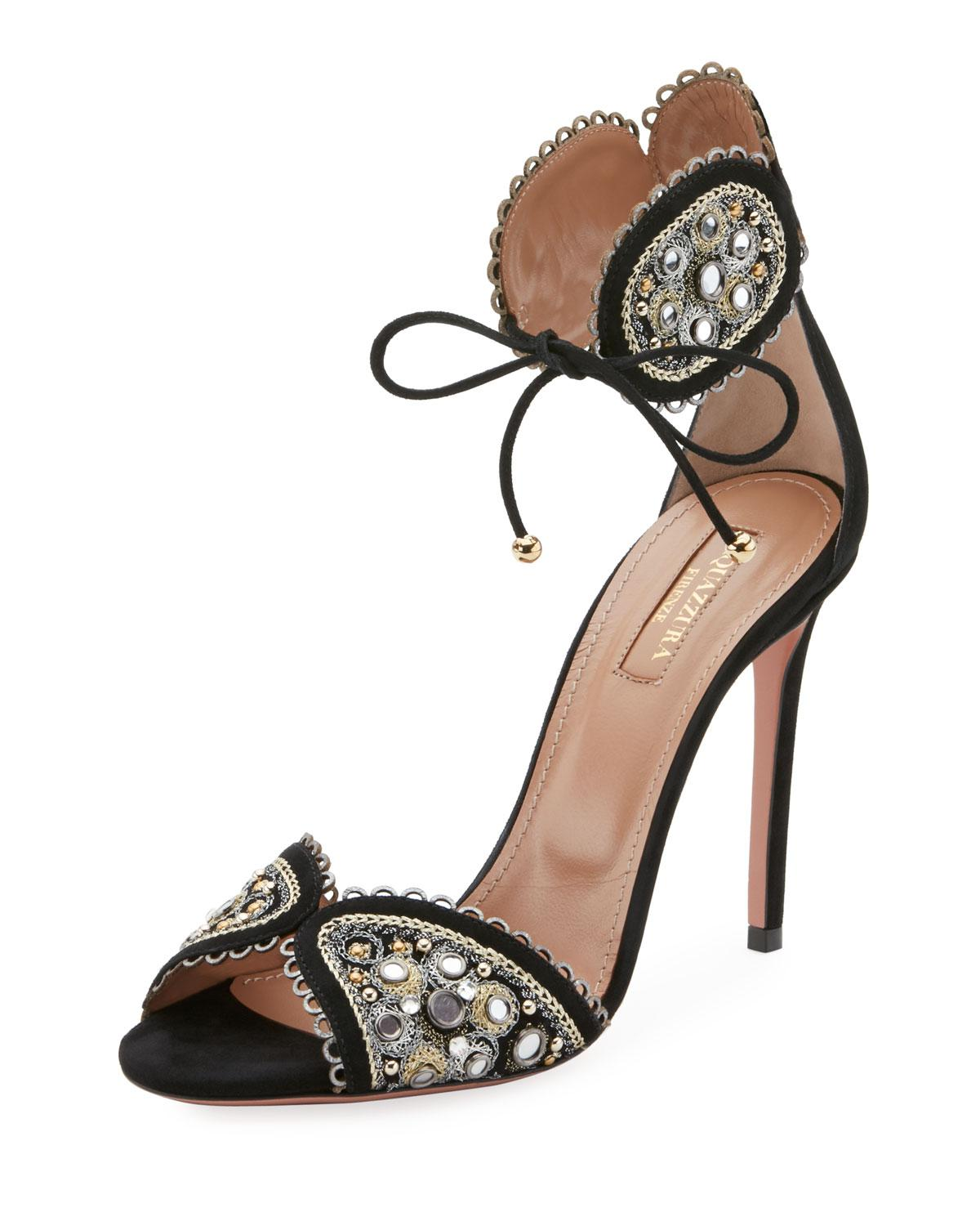 Aquazzura Jaipur Beaded Ankle-Wrap Pump SsDsgHga5e