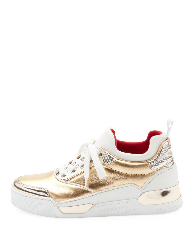 5b308c73eb170 Lyst - Christian Louboutin Aurelien Women s Multimedia Metallic Low-top  Sneakers in White